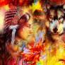 Pussel - Indiankvinnan & Vargen