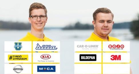 Från vänster Johanthan Rydberg, personbilsteknik, och Elias Karlsson, bilskadeteknik.