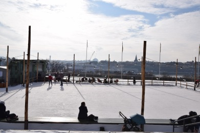 Mobile ice rink 20x20 m in Skansen, Stockholm.