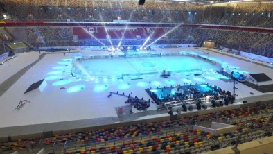 Winter games in Düsseldorf, the ice hockey rink was provided by AST.