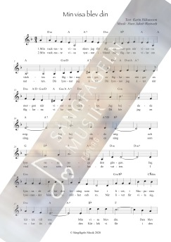 Min visa blev din (melodi & ackord) D-moll - Min visa blev din (D-moll)