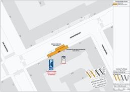Byggnadsställning med fri undergång p-automat illustrerad