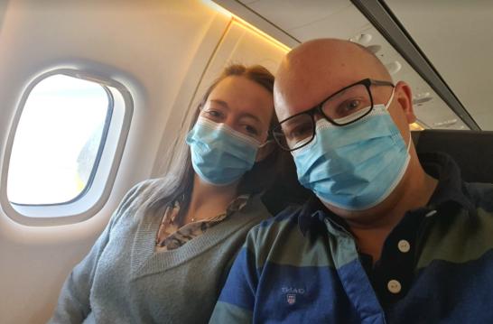På väg till Ryssland och Olga fertility clinic. För att kunna åka behövde vi speciell inbjudan från kliniken, ansöka om visum och göra PCR-test för att visa att vi var friska.