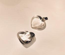 Hängsmycke hjärta ca 20-30 mm - Bergskristall