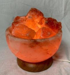 Lampa skål med stenar, saltkristall