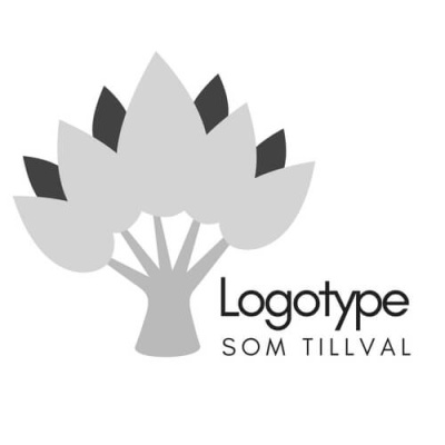 Logotype från Serfolk i form av ett träd med gråa blad.