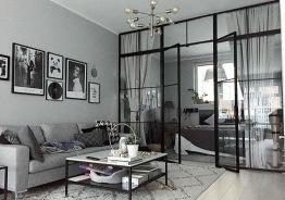 Glasväggar industridesign - Glasvägg med dubbeldörrar H2500xB3000 mm