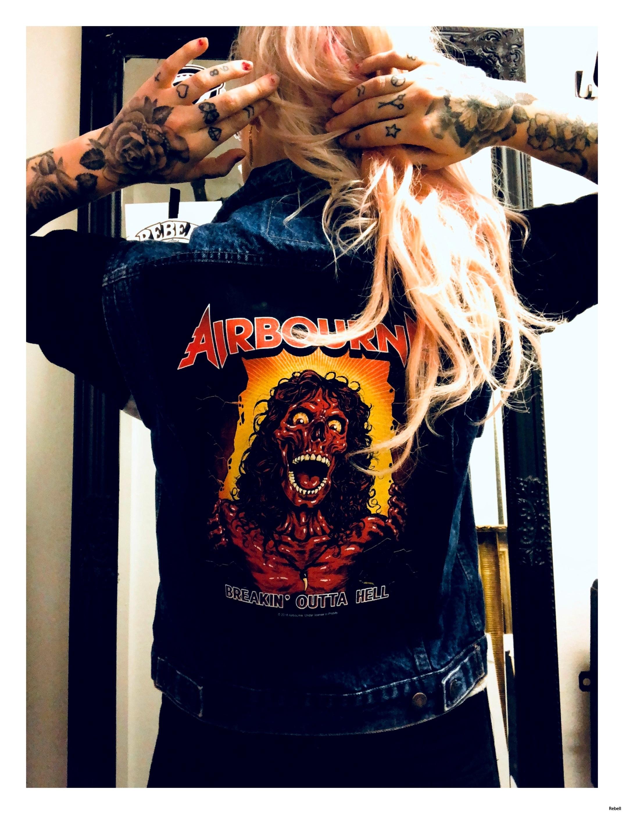 Airbourne Junk Jeansväst REbell rock rocknroll art design punk oi music rocknroll rockabilly
