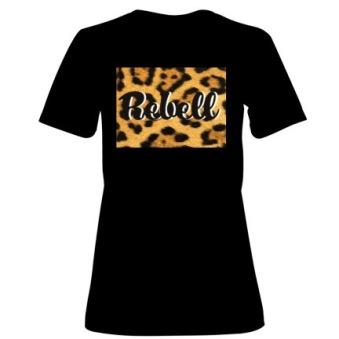 Rebell Tshirt Leopard svart dammodell nyhet - Small