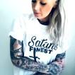 Rebell Tshirt Satans Finest vit nyhet unisex - XL