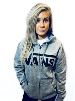 Vans hoodie med dragkedja grå unisex