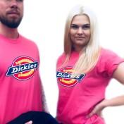 Dickies tshirt rosa nyhet bas horseshoe unisex