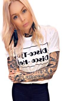 Rebell Tshirt Disco-tjo Disco -Hej vit unisex