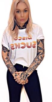 Rebell Tshirt disco sucks vit unisex