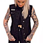 Rebell  urbanclassic svart jeansväst unisex