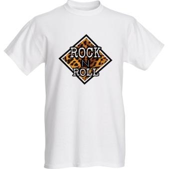 Rebell tshirt rocknroll leopardvit unsiex