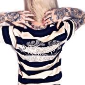 King Kerosin Tshirt VIT/svart randig speedshop unisex