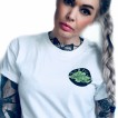 Rebell Tshirt  smoke em vit med grönt tryck ryggtryck unisex