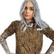 Rebell Tshirt Leopard kortare Dammodell