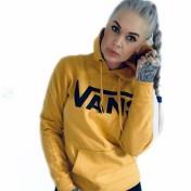 Vans hoodie med luva senapsgul unisex