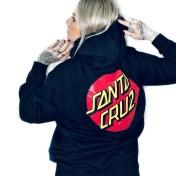 Santa Cruz hoodie klassisk dot svart luva tryck fram &  bak unsiex