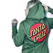 Santa Cruz hoodie klassisk dot zip hoodie grön unisex
