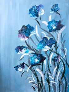 Blå Blom 42x56 cm på papper