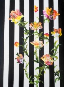 Galler i rosa flykt 42x56 cm på papper