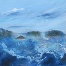 Upprört hav 40x40 cm, akryl på duk (2400 sek)