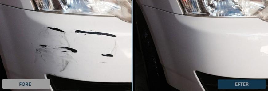 Bilden visar resultatet före och efter lagning med spot repair på en främre stötfångare.