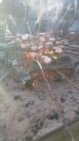 Gratis korv grillning på underbar strand