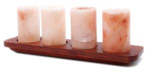 Shotglas av Himalayasalt 4st med bricka