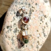 Star ruby with green qhost quartz in 925 silver