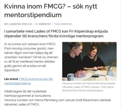 Kvinna inom FMCG? – sök nytt mentorstipendium