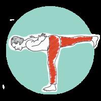 Yoga för män. Balans. Illustration Lena Nyberg