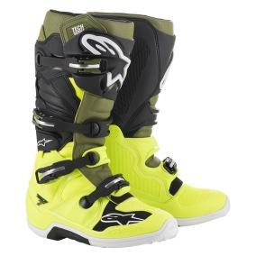 ALPINESTARS MX BOOTS TECH 7 YELLOW/MILITARY GREEN/BLACK - 38