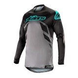 ALPINESTARS RACER TECH JERSEY COMPASS - BLACK/MID GREY/TEAL