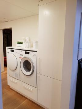 Tvättstuge inredning, lucka Sober, laserad ask