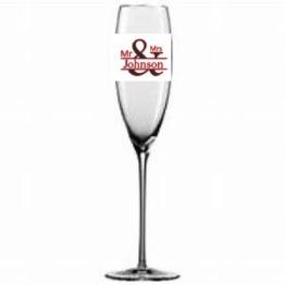 Mr&Mrs valfritt namn till glas