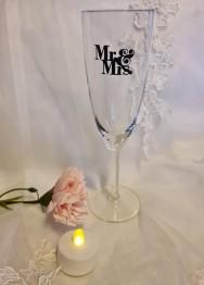 Champagneglas mr&mrs