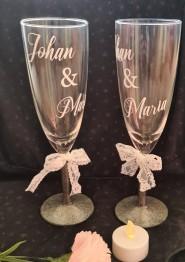Champagneglas 2-p valfritt namn