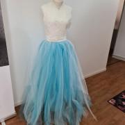 Tyll kjol blå/vit