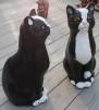 Katt sittande - Katt sittande kopparfärgad