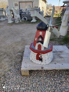 Liten väderkvarn - detaljmålad röd