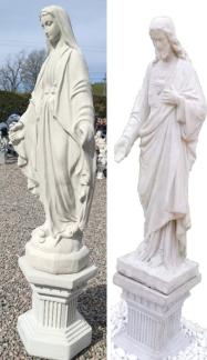 Jesus och Maria på sockel