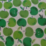 Bomullstyg gröna äpplen (Fruity Friends)