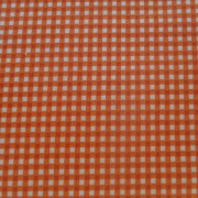 Bomullstyg orange/vit ruta (Gingham)