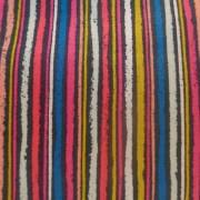 Bomullstyg blå-rosa-gul rand (Kitty Chalk Stripe)