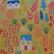 Bomullstyg gul trädgård (Kitty Garden)