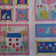 Bomullstyg panel/katter, hus, blommor (Kitty Panel)